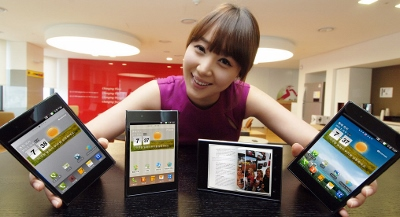 LG girl with 4 gadgets