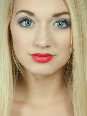 Beautiful blonde girl with lipstick